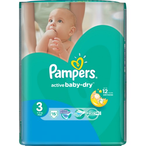 15 ΠΑΝΕΣ PAMPERS ACTIVE BABY DRY No3 (4-9kg)